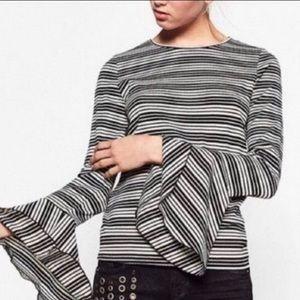 Zara B&W Stripe Ribbed Trumpet Sleeve Top